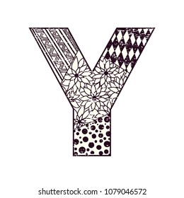 Letter Y Double Exposure White Tree Stock Vector Royalty Free