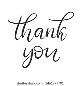 Black and white lettering vector illustration with calligraphy style Phrase thank you.  EPS10