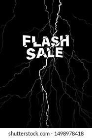 Black and white lighting strom poster design template, flat minimal elements with flash sale fonts design
