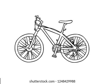 black and white line art, bicycles, bicycle sketches
