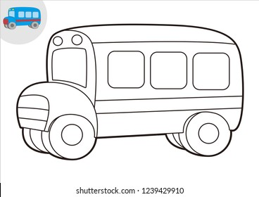 black and white line art bus, coloring book