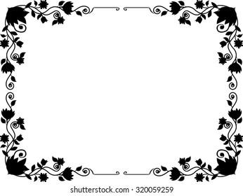black and white line art frame floral