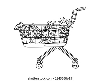 black and white line art fruits in the basket