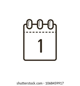 black and white line art icon of the tear-off calendar with number one on sheet