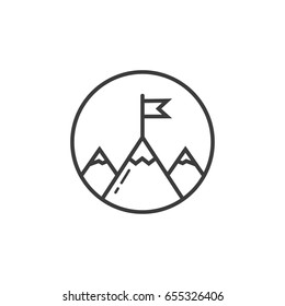 Black and white line art icon of three mountains peeks with flag in the round frame