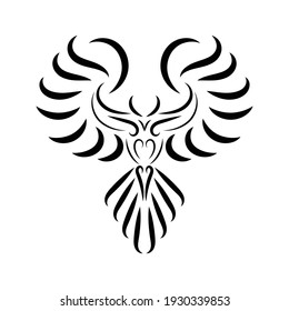 Black and white line art of phoenix bird with beautiful wings. Curl floral ornament decoration. Good use for symbol, mascot, icon, avatar, tattoo, T Shirt design, or any design you want.