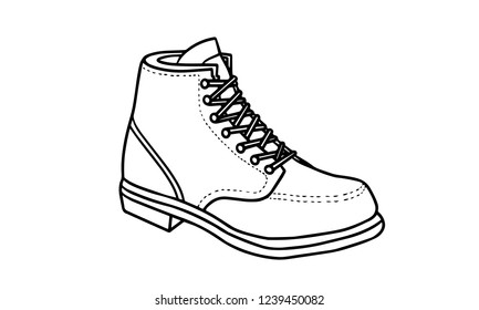 black and white line art shoes