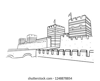 black and white line art, sketch of Turkey's great wall