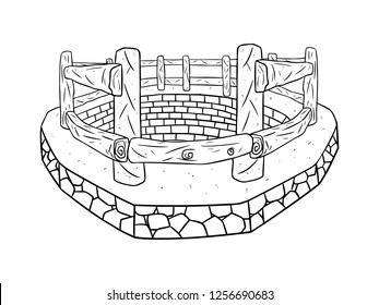 black and white line art, sketch of the wellbore