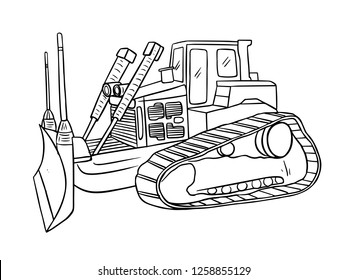 black and white line art, sketch of bulldozers