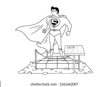 black and white line art, sketch of superman sculptures