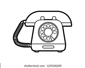 black and white line art, telephone vector illustration