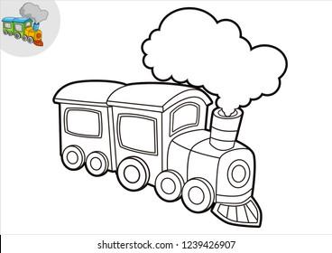 black and white line art train, coloring book