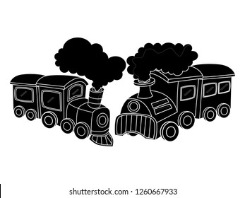 black and white line art, vector illustration of a train silhouette
