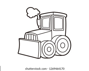 black and white line art, vector cartoon bulldozer