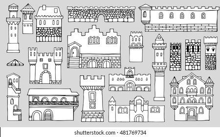 Black and white line drawing, cityscape architectural elements vector set.Hand drawn isolated sketchy fortress. Doodle set of cartoon towers and castles