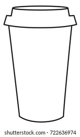 Black and white line drawing of a coffee cup.