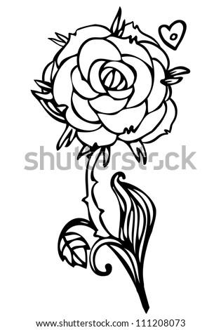 Black White Line Drawing Rose Flower Stock Vektorgrafik Lizenzfrei