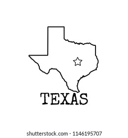 A black and white  line drawing or sketch of Texas emblem; vector illustration isolated on white;