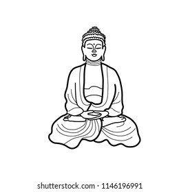 A black and white  line drawing or sketch of a sitting buddha statue; vector illustration isolated on white;