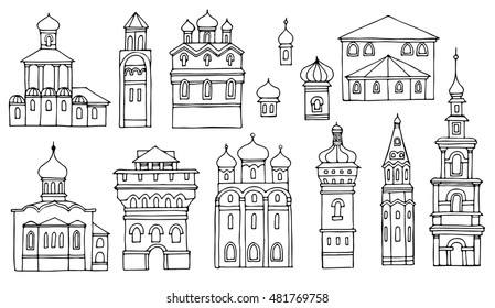 Black and white line drawing,cityscape architectural elements vector set.Hand drawn isolated sketchy Facades old Orthodox churches.