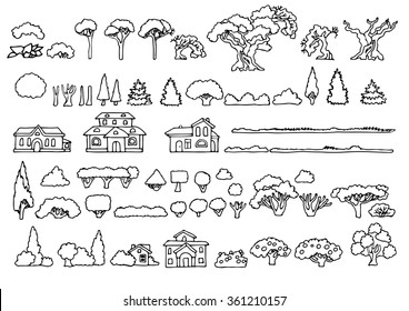 Black and white line drawing.Landscape elements vector set.Hand drawn isolated sketchy trees,bushes and houses.Doodle set of cartoon houses and trees.Tree and house illustration, countryside