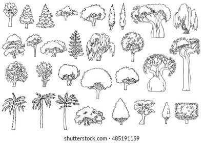 Black and white line drawing.Landscape hand drawn isolated elements vector set. Various shaped sketchy trees and bushes