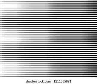 Black and white Line halftone pattern with gradient effect. Horizontal stripes. Parallel straight monochrome pattern Template for backgrounds and stylized textures. Vector illustration