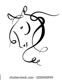 Black and white linear illustration of a horse. Vector stylized linear drawing. Horse head.