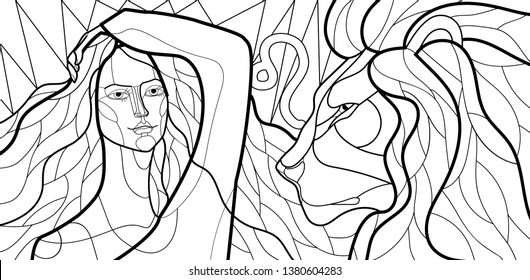 black and white linear illustration with the image of a girl, the personification of the zodiac sign. Style Stained Glass