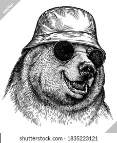 black and white linear paint draw bear vector illustration