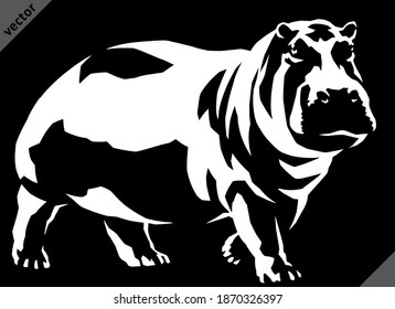 black and white linear paint draw hippo vector illustration art