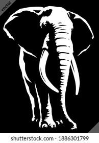 black and white linear paint draw elephant illustration art