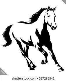 black and white linear paint draw horse vector illustration