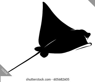 black and white linear paint draw Stingray illustration