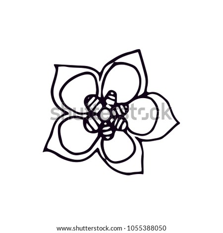 Black White Lineart Spring Flower Vector Stock Vektorgrafik