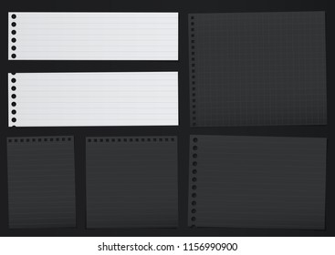 Black, white lined note, notebook paper pieces with torn edges stuck on black backgroud. Vector illustration.