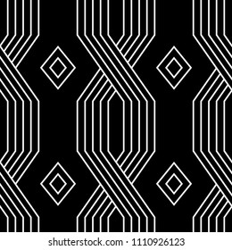 Black and white lines geometric art deco style simple seamless pattern, vector