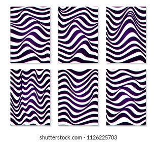 Black and white lines. Musical waves, equalizer. 3d abstract vector background. Linear art. Motion design.