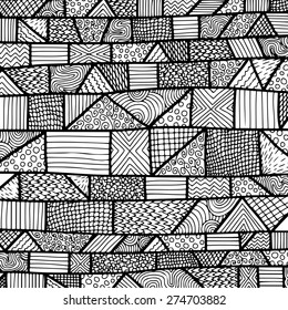 Black and white lines pattern with zentangle elements. Vector illustration can be used for backgrounds, web design, surface textures and other crafts.