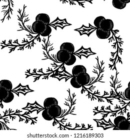 Black and white linocut style mistletoe. Christmas foliage seamless pattern on white background.