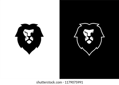Black and white lion head, vector lion head, esport gaming lion