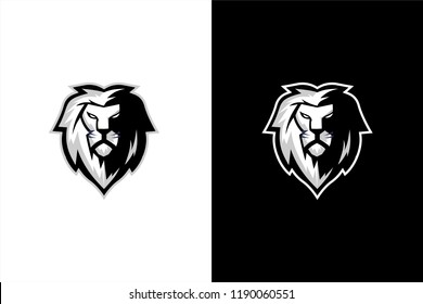 Black and white lion head vector, lion head esport gaming logo