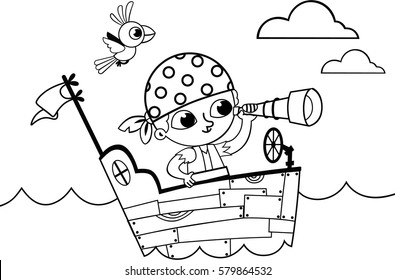 Black and white little pirate for coloring book activity. (Vector illustration)