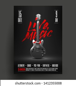 Black and white live music event, concert, music festival promo poster, flyer, banner  advertising template. Classic guitar poster. Vector illustration.