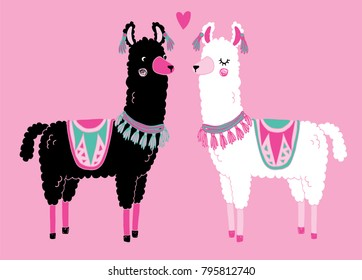 A black and white llama standing looking at each other. Cute vector illustration.