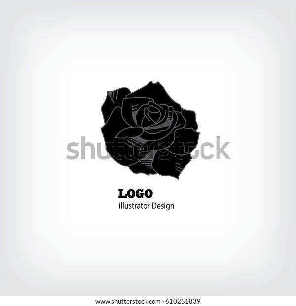Black White Logo Abstract Rose Bud Stock Vector Royalty