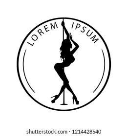 Black and white logo for Dance studio, Pole dance, stripper club. Silhouette pole dance on a white background. Pole dance exotic vector illustration. Vector illustration for logotype, icon, banner