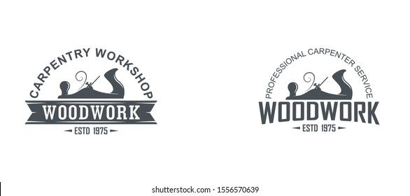Black and white logo illustration of a carpenter workshop. Vector illustration of a planer and text with banner