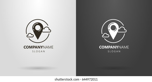 Black and white logo with a marker and clouds
